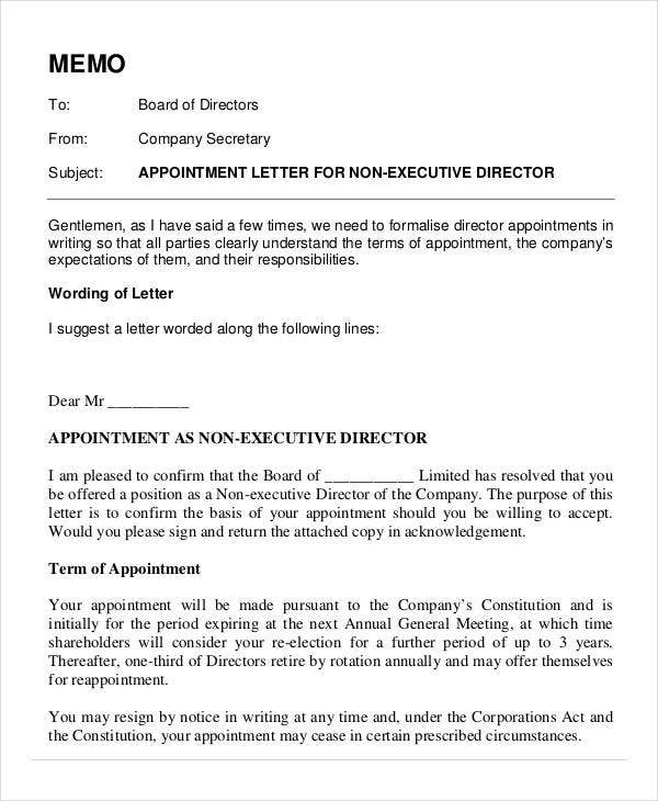 example director appointment letter