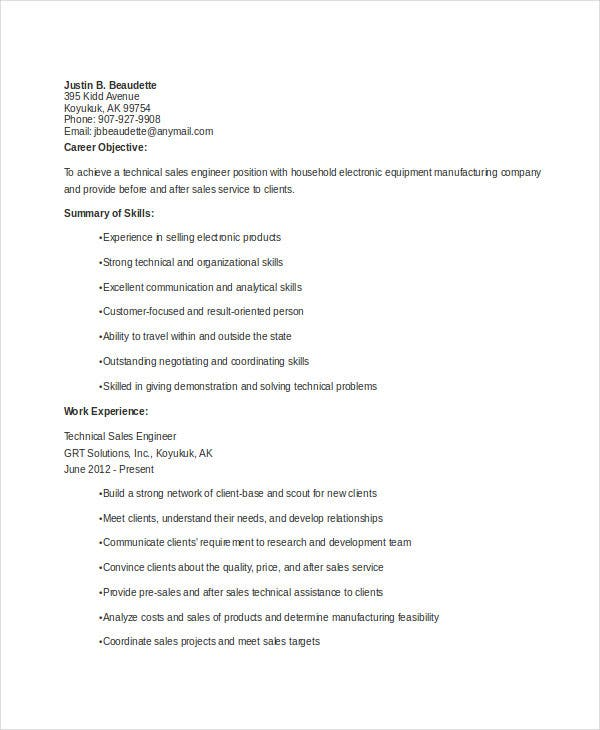 technical-sales-engineer-resume