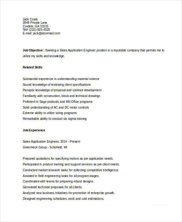 sales application engineer resume