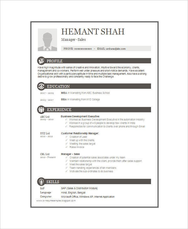 One Page Resume Example | 16 One Page Resume Templates Free Premium Templates