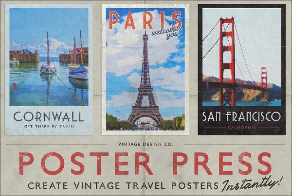 vintage travel poster psd
