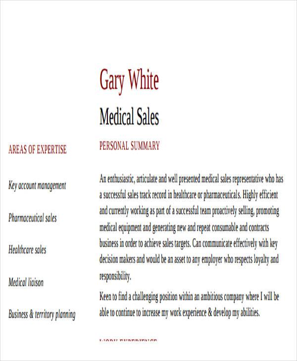 27 sales resume templates in pdf free premium templates medical sales resume example yelopaper Gallery