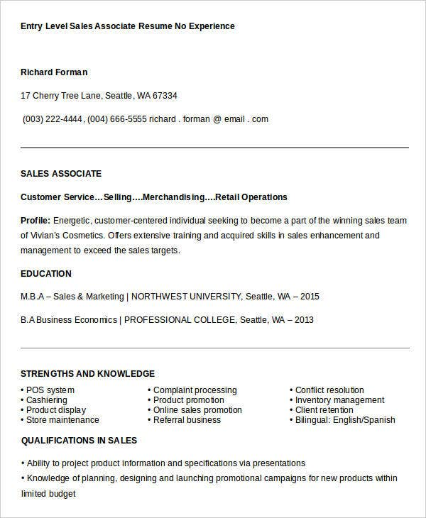Sales Resume Template - 25+ Free Word, Pdf Documents Download