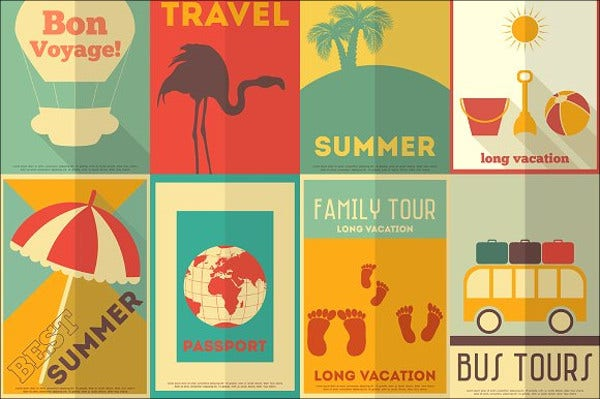 flat tour and travel poster