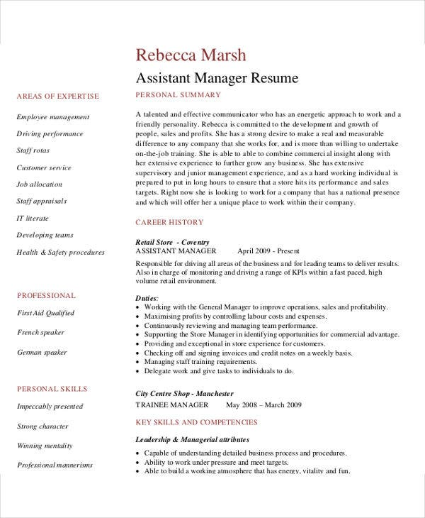 Retail Assistant Manager  Assistant General Manager Resume