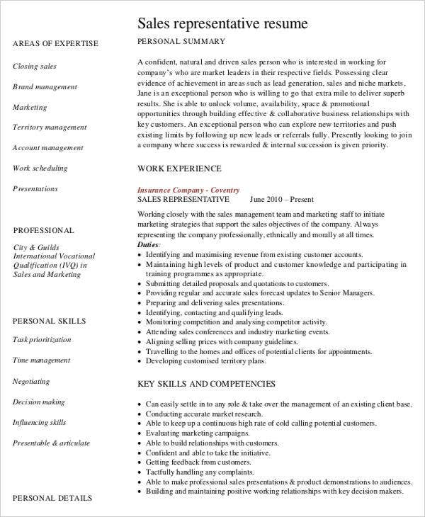 customer sales representative resume - Customer Sales Representative Resume
