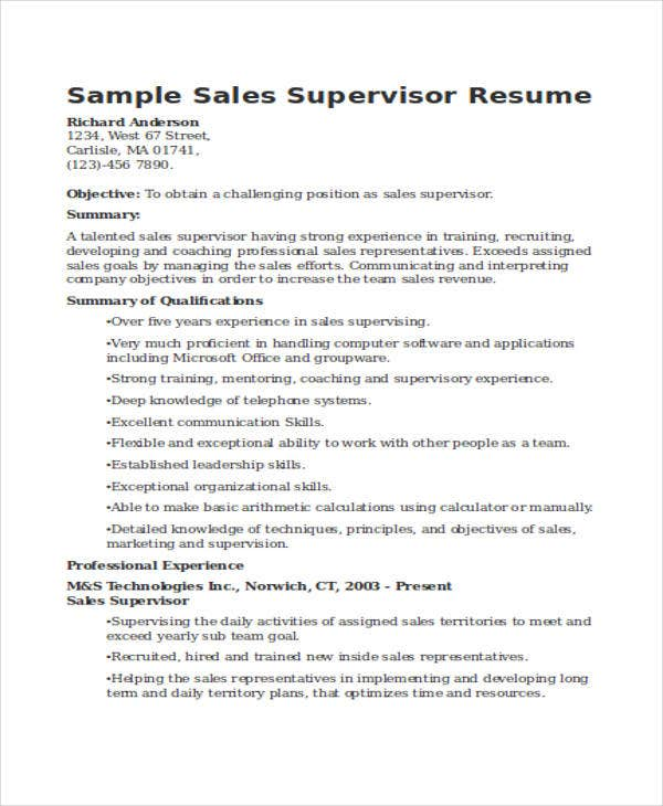 sales supervisor resume fast lunchrock co