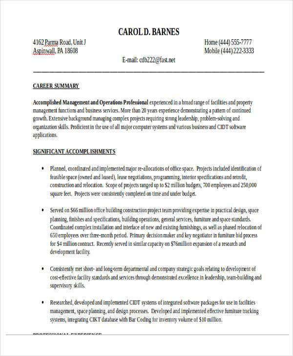 Operations Supervisor Resume  Construction Supervisor Resume
