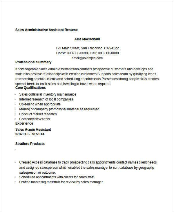 sales administrative assistant resumes