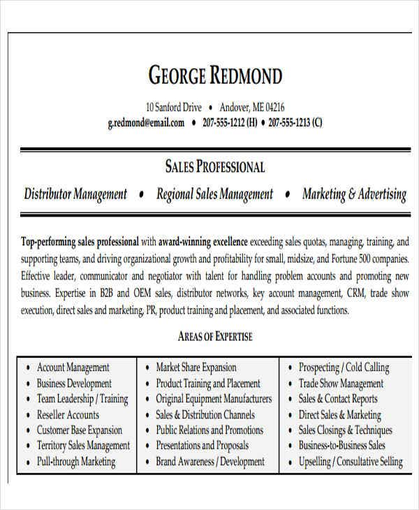 regional sales manager resume3