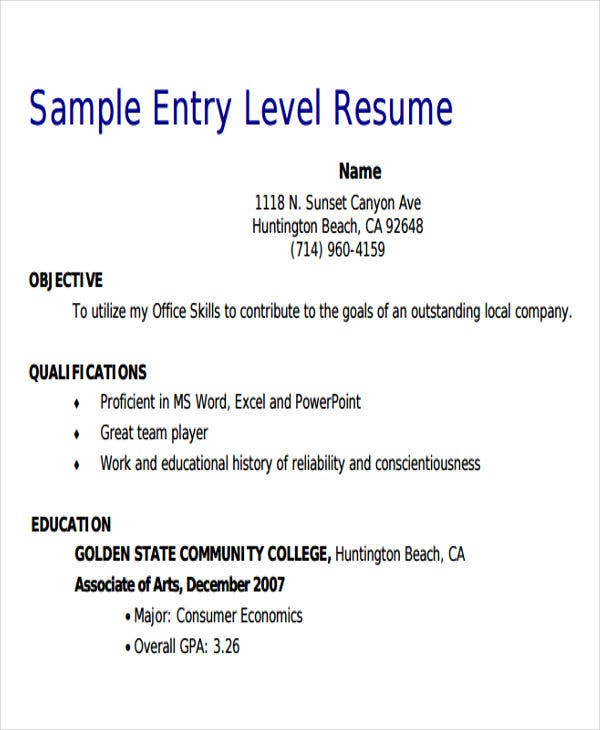 sample entry level retail sales resume