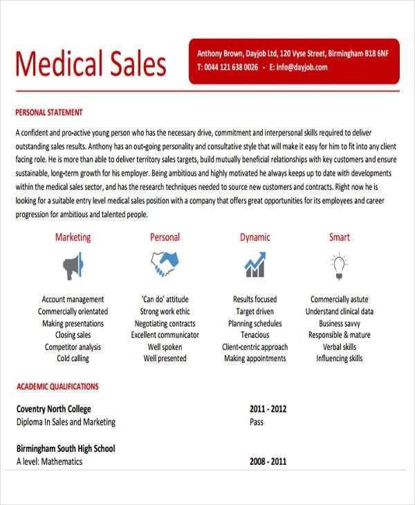 Resume for medical sales entry level