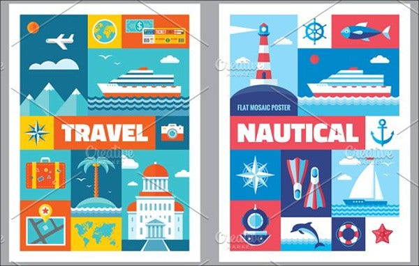 flat travel vacation poster
