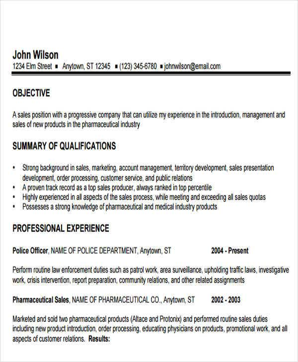 pharmaceutical sales representative resume2
