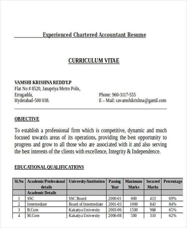 experienced chartered accountant resume4