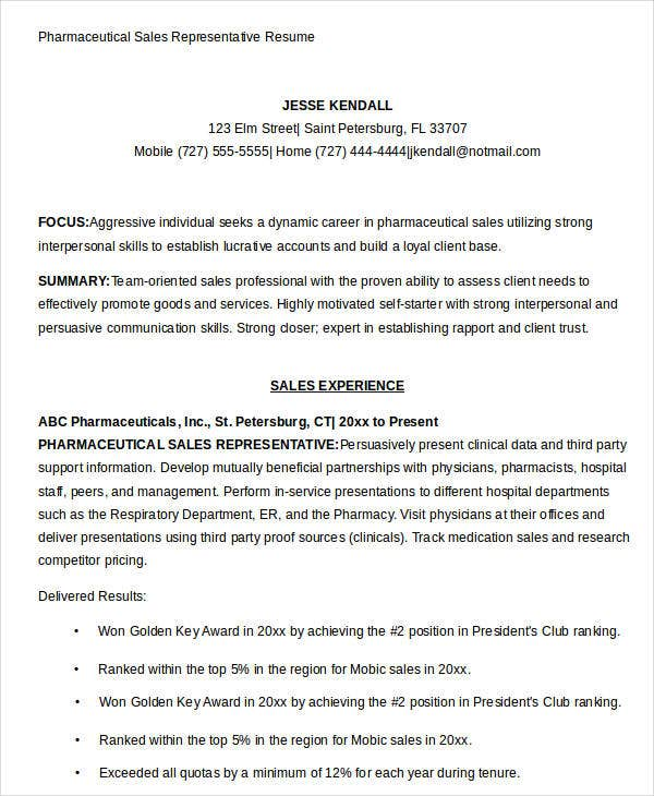 Pharmaceutical Sales Representative Resume
