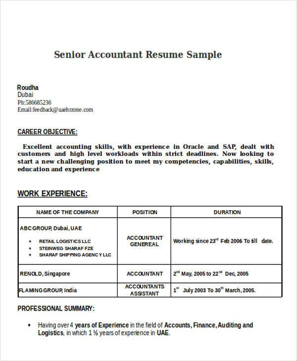 34 Accountant Resumes in Doc – Senior Accountant Sample Resume