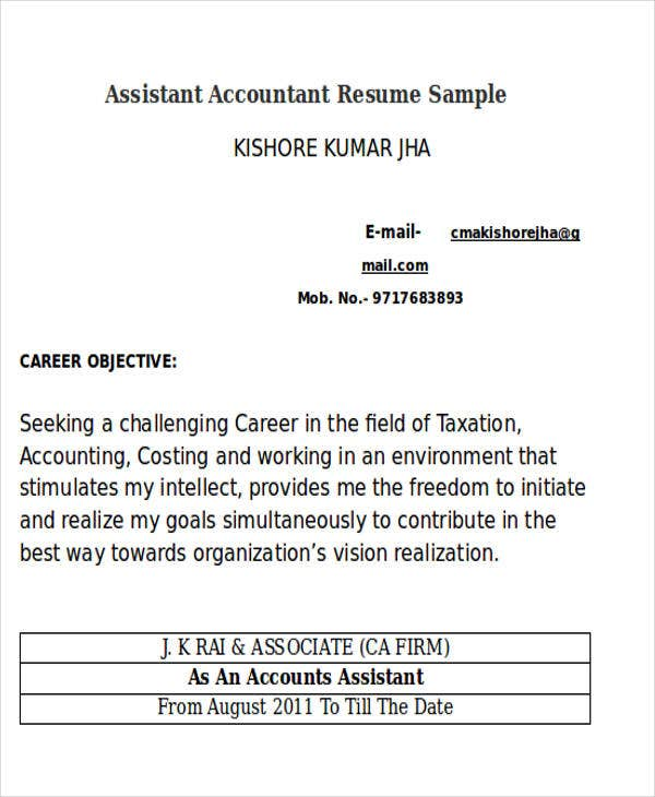 Sample For Assistant Accountant Resume