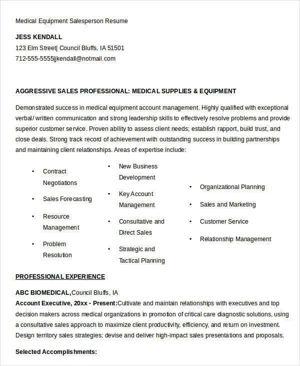 Medical Equipment Salesperson Resume