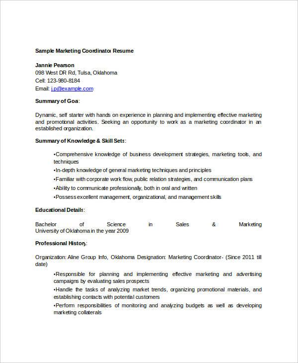 sales marketing coordinator resume1