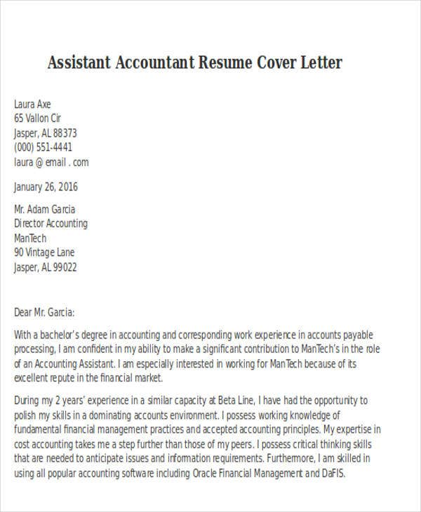 assistant accountant resume cover letter