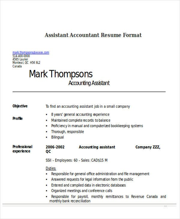 Assistant Accountant Format Resume