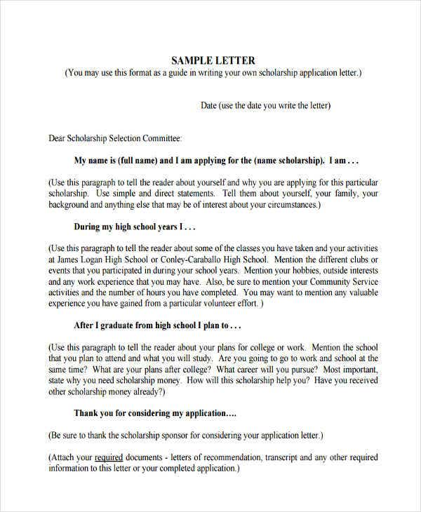 36 application letter samples free premium templates high school scholarship application letter spiritdancerdesigns Images