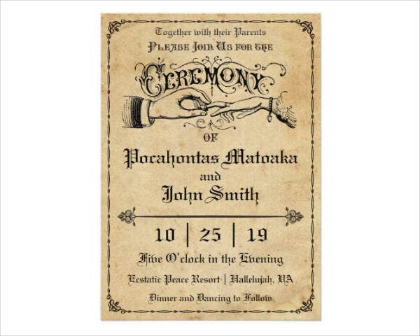 vintage ring ceremony invitation