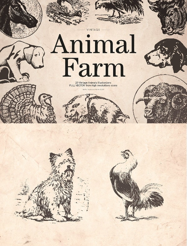 vintage animal farm illustration