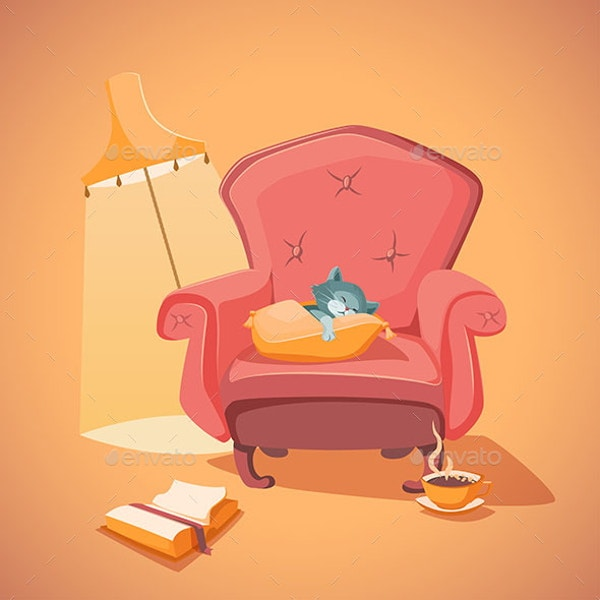 vintage armchair illustration