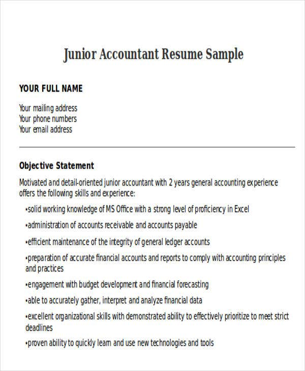 Junior Accountant Resumes In Doc Sample