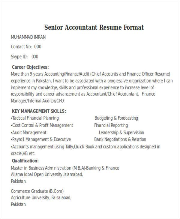 Senior Accountant Format