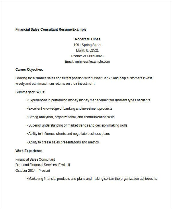 financial sales consultant resume1