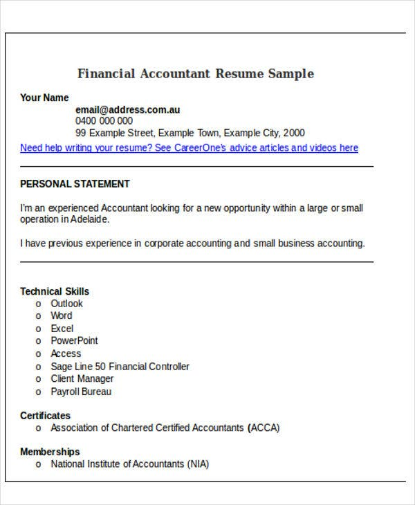 Sample For Financial Accountant Resume