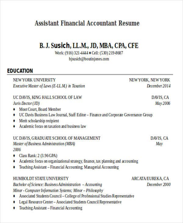 Financial Accountant Resumes In Doc Format For Assistant Resume1
