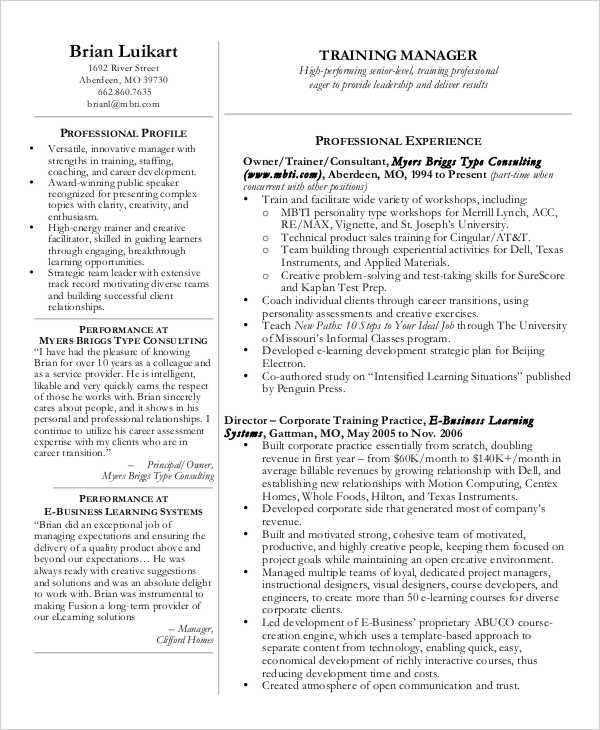 sales training manager resume - Training Manager Resume