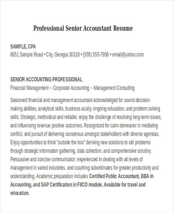 professional senior accountant. Resume Example. Resume CV Cover Letter