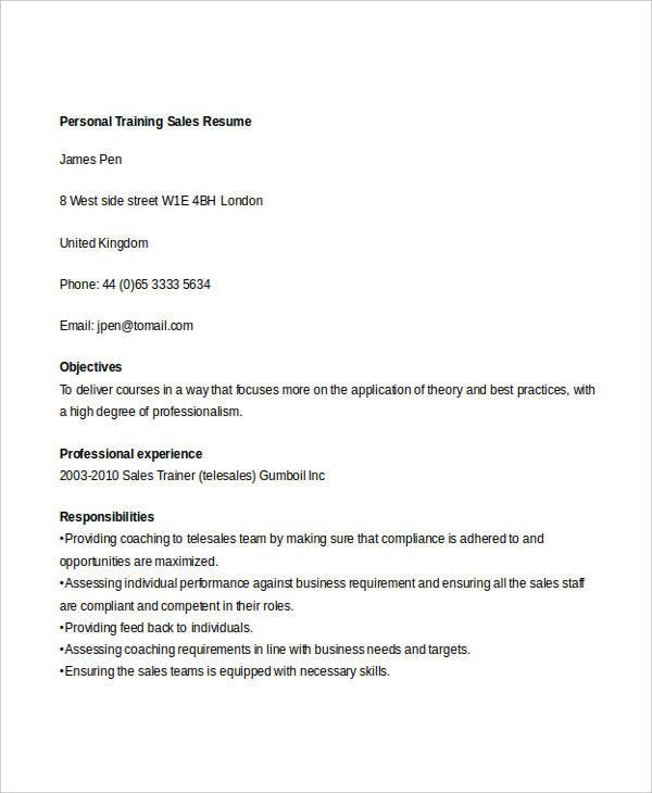 personal training sales resume1