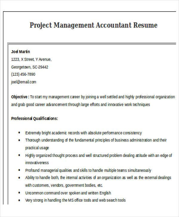 project management accountant resume