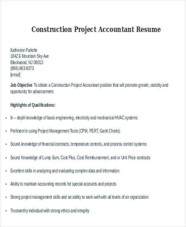 construction project accountant resume