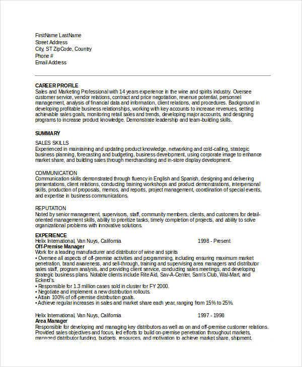 marketing resume templates in word 25 free word documents - Marketing Professional Resume