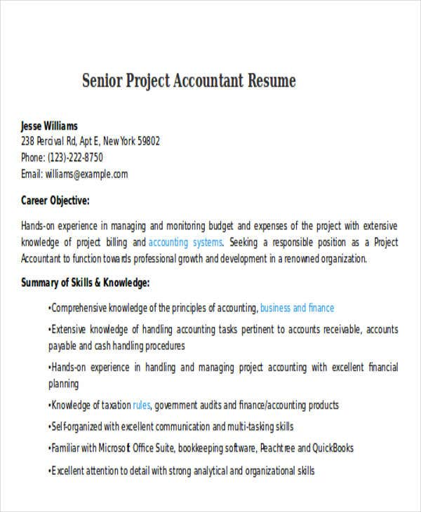 senior project accountant resume