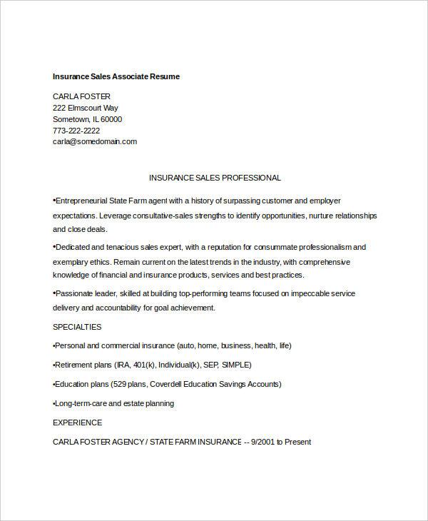 insurance sales associate resume1
