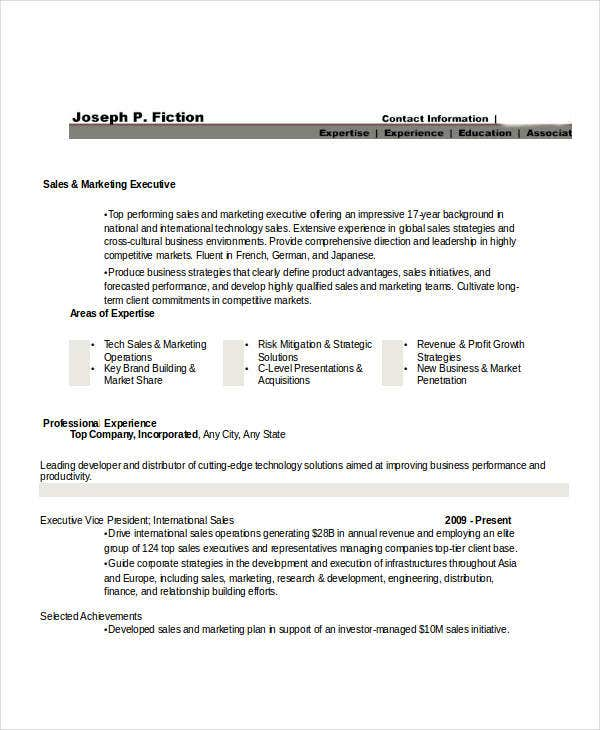 Marketing Resume Templates In Word - 25+ Free Word Documentssales