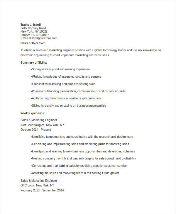 Sales And Marketing Engineer Resume