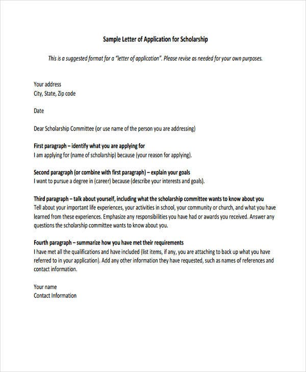 36 application letter samples free premium templates for How to make a cover letter for a scholarship application