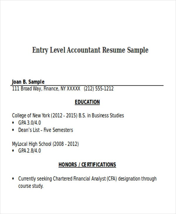 entry level accountant resume sample