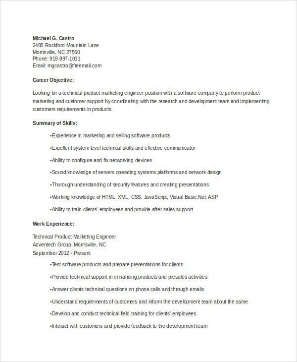 Marketing Resume Templates In Word   Free Word Documents
