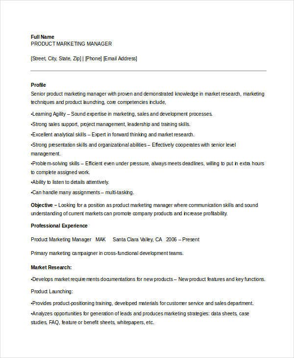 Sample Product Marketing Manager Resume