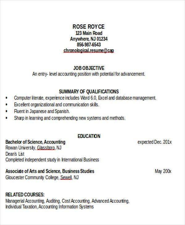 junior accountant job resume